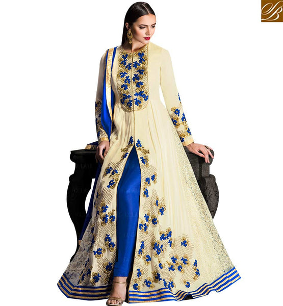 STYLISH BAZAAR OFF WHITE GEORGETTE BLUE AND GOLD EMBROIDERED ANARKALI SALWAR KAMEEZ CONTAIN SLIT CUT STYLE GLZR1703