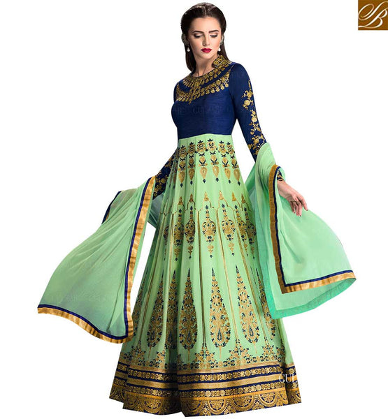 STYLISH BAZAAR ATTRACTIVE BLUE AND PISTA GREEN GEORGETTE DESIGNER ANARKALI SALWAR KAMEEZ WITH ELEGANT WORK GLZR1705