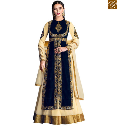 STYLISH BAZAAR GRACEFUL BLUE VELVET AND CREAM GEORGETTE DESIGNER ANARKALI SALWAR KAMEEZ HAVING PLEASANT GLANCE GLZR1706
