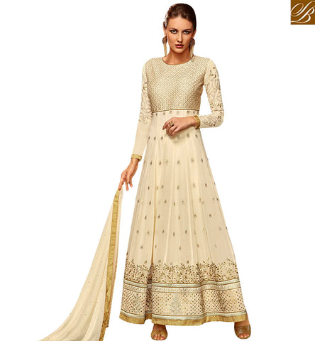 STYLISH BAZAAR SHOP ONLINE BEAUTIFUL CREAM GEORGETTE DESIGNER ANARKALI SALWAR KAMEEZ SLETS177