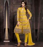 PURE COTTON SALWAR KAMEEZ DESIGNS AT BEST RATE STUNNING SHERVANI STYLE PATTEN WITH EXCELLENT EMBROIDERY WORK AND SMART NECKLINE