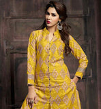 STUNNING SHERVANI STYLE PATTEN WITH EXCELLENT EMBROIDERY WORK AND SMART NECKLINE COMFORTABLE AND STYLISH PURE COTTON DRESS WITH MATCHING YELLOW SALWAR AND NAZNEEN DUPATTA