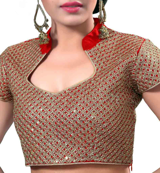 SHOP DESIGNER BLOUSE FOR WEDDING SAREES RICH SEQUINS CHINESE COLLAR
