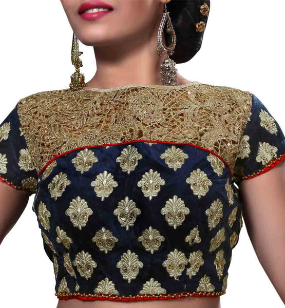 IMAGE OF IMAGE OF VELVET BLOUSE DESIGN  OF CAP SLEEVE NECK & BACK NEW BLOUSE DESIGNS 2015