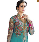 This is a Sea-Green colored floral embroidered and zari worked anarkali salwar kameez made of Net.