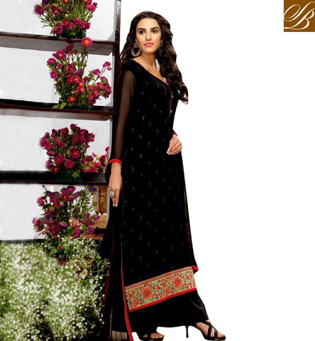STYLISH BAZAAR INVITING BLACK GEORGETTE PLAZZO STYEL STRAIGHT CUT SUIT BLFS10