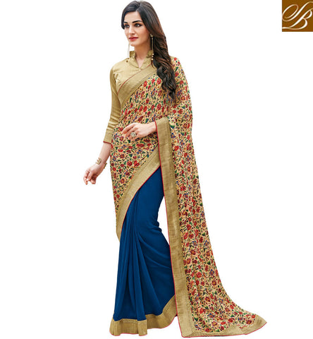 STYLISH BAZAAR ROYAL BLUE CHIFFON AND DIGITAL PRINT SATIN HALF N HALF DESIGNER SAREE BLFS11344