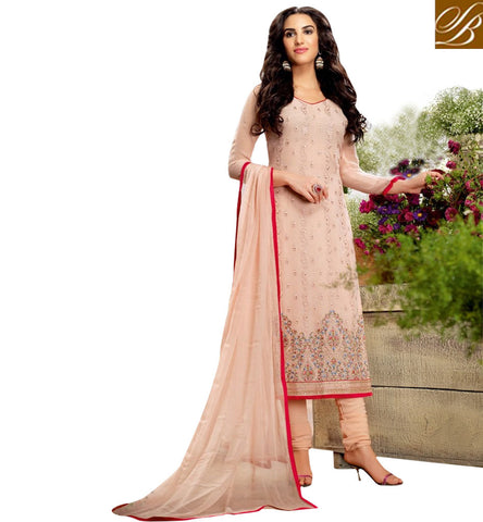 STYLISH BAZAAR PEACH COLOUR DRESS HAVING BEAUTIFUL EMBROIDERY WORK BLFS11