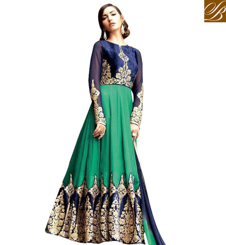 STYLISH BAZAAR IDEALLY DESIGNED BACK NECK ANARKALI WITH TWO COLOR CHOICE DESIGNER ANARKALI DRESS SUIT ONLINE INDIA BLFS1308