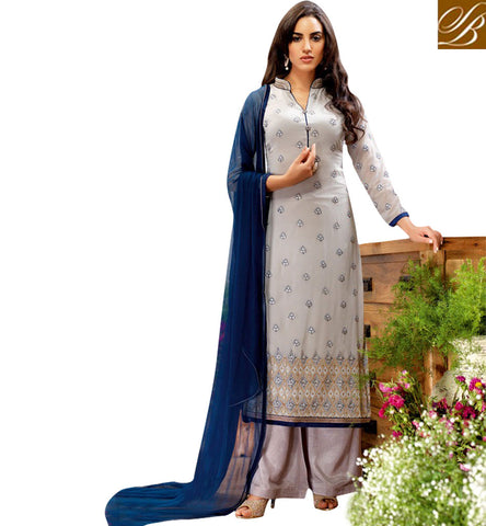 STYLISH BAZAAR SHOP BELA STRAIGHT CUT PLAZZO STYLE DESIGNER SUIT WITH HYNECK STYLE BLFS13