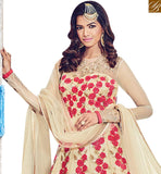FROM THE HOUSE OF STYLISH BAZAAR WONDERFUL CREAM NET DESIGNER SUIT HAVING FLORAL WORK BLFS1531