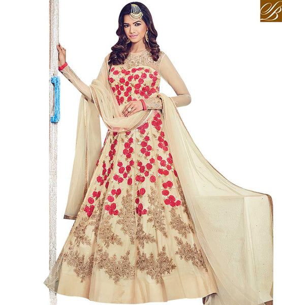 STYLISH BAZAAR WONDERFUL CREAM NET DESIGNER SUIT HAVING FLORAL WORK BLFS1531