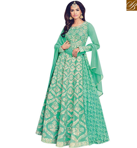 STYLISH BAZAAR ATTRACTIVE GREEN GEORGETTE HEAVY EMBROIDERED ANARKALI SUIT FOR WOMEN BLFS1532