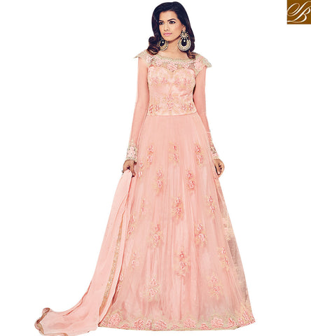 STYLISH BAZAAR BEAUTIFUL PEACH NET DESIGNER DREES CONTAIN FLORAL WORK BLFS1533