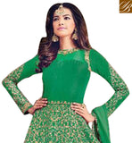 BROUGHT YO YOU BY STYLISH BAZAAR SHOP EYE CATCHING GREEN SILK DESIGNER SUIT WITH RESHAM EMBROIDERY BLFS1534B