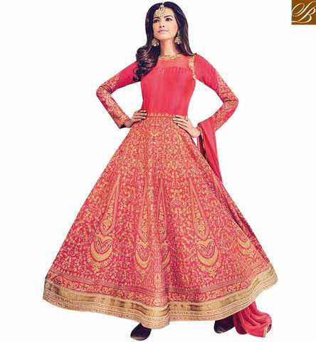 STYLISH BAZAAR SHOP EYE CATCHING RED SILK DESIGNER SUIT WITH RESHAM EMBROIDERY BLFS1534