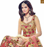 STYLISH BAZAAR PRESENTS BEIGE AND MAROON NET DESIGNER SUIT WITH ELEGANT FLOWER WORK BLFS1535