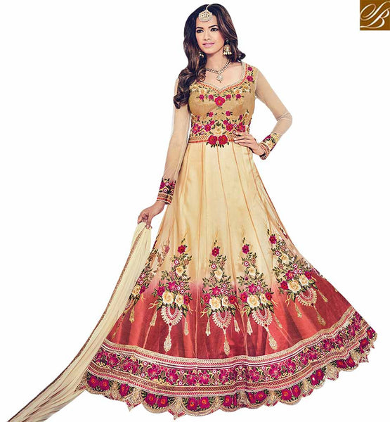 STYLISH BAZAAR BEIGE AND MAROON NET DESIGNER SUIT WITH ELEGANT FLOWER WORK BLFS1535