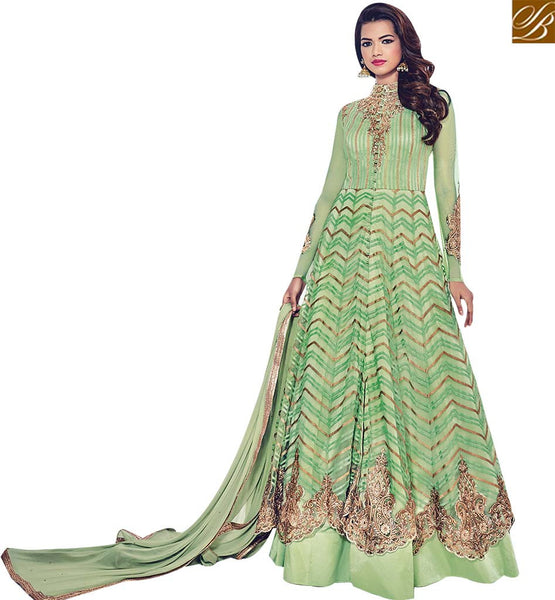 STYLISH BAZAAR INVITING GREEN NET DESIGNER HAVING BAND NECK WITH MODERN STYLE BLFS1536
