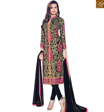 STYLISH BAZAAR BLACK GEORGETTE DESIGNER STRAIGHT CUT SUIT CONTAIN HEAVY EMBROIDERY WORK BLFS1537