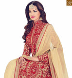 STYLISH BAZAAR PRESENTS UNIMAGINABLE BEIGE SILK DESIGNER ANARKALI SALWAR KAMEEZ WITH FULL RED EMBROIDERY WORK BLFS1538