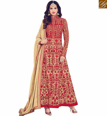 STYLISH BAZAAR UNIMAGINABLE BEIGE SILK DESIGNER ANARKALI SALWAR KAMEEZ WITH FULL RED EMBROIDERY WORK BLFS1538