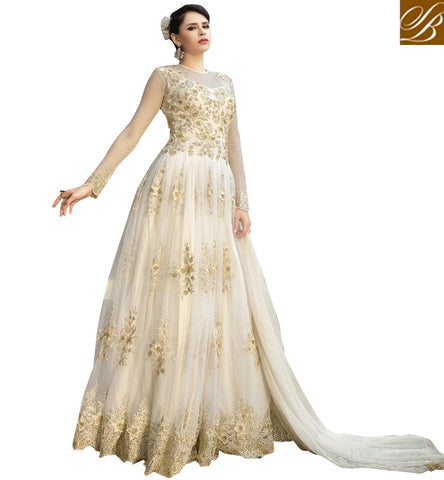 STYLISH BAZAAR Cream New beige & blue heavily embroidered bridal Bela anarkali online BLFS1578
