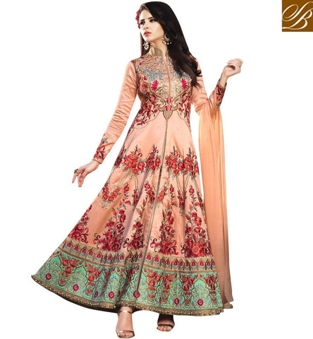 STYLISH BAZAAR Rosette design soft silk heavily embroidered Bela women anarkali online BLFS1579