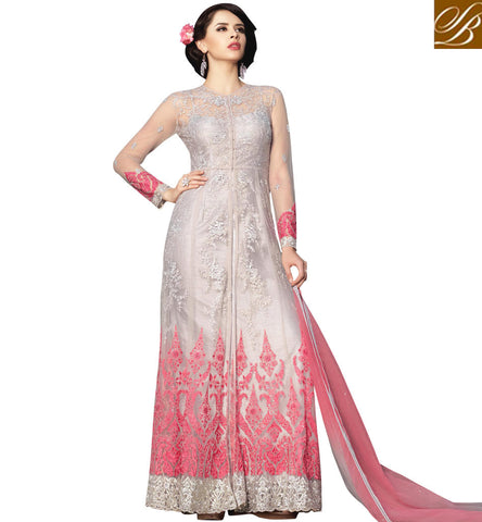 STYLISH BAZAAR White and pink combination designer bela women gown in online shopping BLFS1580