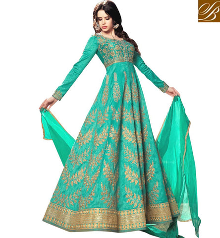 STYLISH BAZAAR Shop Sea green sweet heart neck Indo western Bela gown last Eid dress BLFS1582