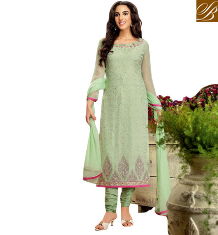 STYLISH BAZAAR STUNNING PISTA GREEN GEORGETTE CHURIDAR STRAIGHT CUT EMBROIDERED SUIT BLFS15