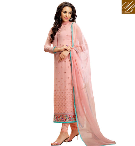 STYLISH BAZAAR PINK COLOUR GEORGETTE DRESS HAVING PLEASANT GLANCE WITH STRAIGHT CUT BLFS16