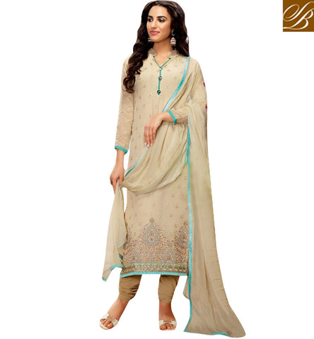 STYLISH BAZAAR ELEGANT BEIGE COLOUR STRAIGHT CUT SUIT DECORATED WITH BEAUTIFUL WORK BLFS17