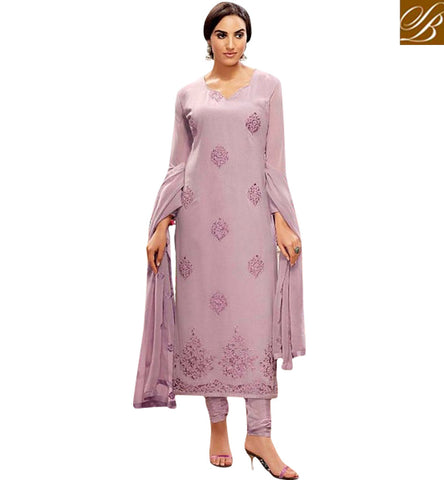 STYLISH BAZAAR LIGHT PURPLE DIAMOND GEORGETTE STRAIGHT CUT BELA EMBROIDERED SUIT BLFS18