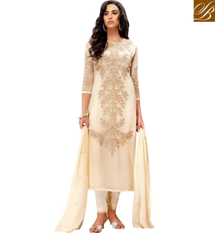 STYLISH BAZAAR CREAM DIAMOND GEORGETTE STRAIGHT CUT WELL DESIGNED BELA SUIT BLFS19