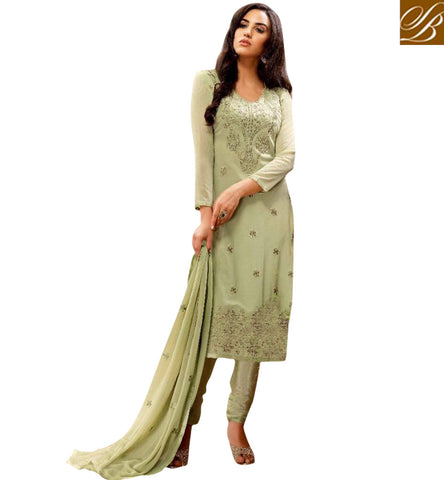 STYLISH BAZAAR WONDERFUL GREEN EMBROIDERED GEORGETTE STRAIGHT CUT BELA SALWAR SUIT BLFS20