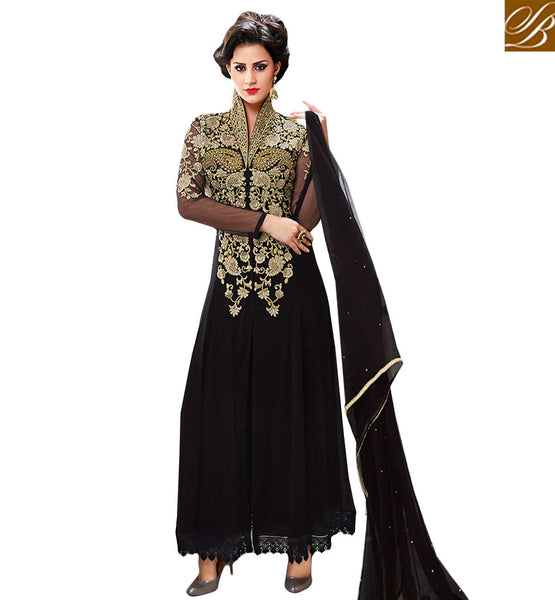LATEST PATTERN BLACK ANARKALI DRESS CHINESE STYLE HIGH NECK COLLAR BELA FASHIONS SURAT 210 GEORGETTE ANARKALI