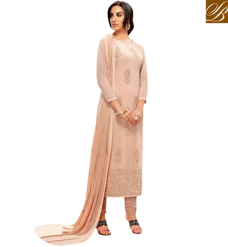 STYLISH BAZAAR BEAUTIFUL BEIGE DIAMOND GEORGETTE WELL DESIGNED SALWAR KAMEEZ BLFS22