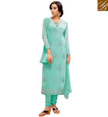 STYLISH BAZAAR ELEGANT SEA BLUE GEORGETTE KARACHI STYLE BELA STRAIGHT CUT DESIGNER SUIT BLFS23