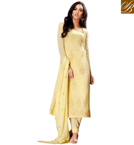STYLISH BAZAAR AMAZING MUSTARD COLOUR BELA STRAIGHT CUT PAKISTANI SALWAR SUIT BLFS24