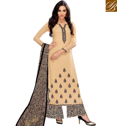 STYLISH BAZAAR INVITING BEIGE COLOUR BELA STRAIGHT CUT PAKISTANI PLAZZO STYLE DESIGNER SUIT BLFS25