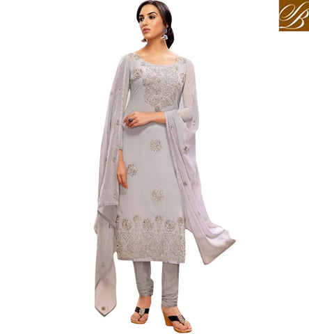 STYLISH BAZAAR ATTRACTIVE DIAMOND GREY GEORGETTE BELA STRAIGHT CUT DESIGNER SUIT BLFS26