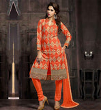 COTTON SALWAR KAMEEZ NECK DESIGNS WITH COLLAR THIS SUIT HAS ALL OVER BEIGE & ORANGE COLOR EMBROIDERY WORK ON TOP WITH COPPER COLOR ZARI BORDER