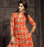 THIS SUIT HAS ALL OVER BEIGE & ORANGE COLOR EMBROIDERY WORK ON TOP WITH COPPER COLOR ZARI BORDER PURE COTTON ORANGE DRESS WITH CHURIDAR SALWAR AND NAZNEEN DUPATTA