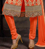 PURE COTTON ORANGE DRESS WITH CHURIDAR SALWAR AND NAZNEEN DUPATTA COTTON SALWAR KAMEEZ NECK DESIGNS WITH COLLAR