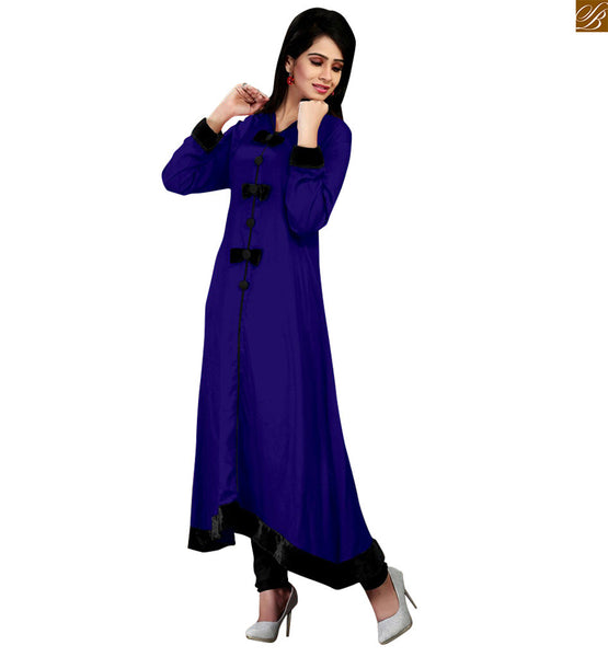 Stylish Blue color with collar neck cotton kurti, long sleeve and Beautiful Baw pattern and lis made to make it look beautiful