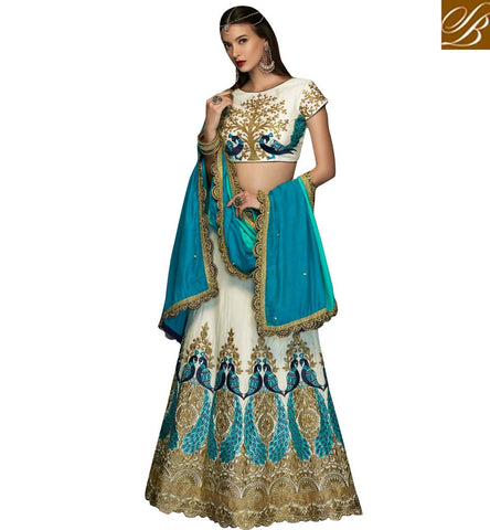 STYLISH BAZAAR ELEGANT OFF WHITE RAW SILK HAVING COOLEST EMBROIDERY WITH PARTY WEAR LEHENGA CHOLI CHRT102
