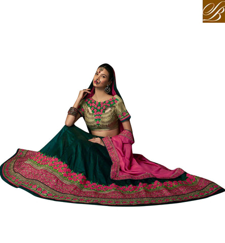 STYLISH BAZAAR STUNNING GREEN AND BEIGE ART SILK DESIGNER WITH HEAVY EMBROIDERED LEHENGA CHOLI CHRT103