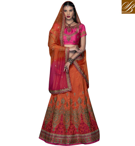 STYLISH BAZAAR SIGNIFICANT PINK AND ORANGE ART SILK HEAVY EMBEDDED PARTY WEAR LEHENGA CHOLI CHRT105