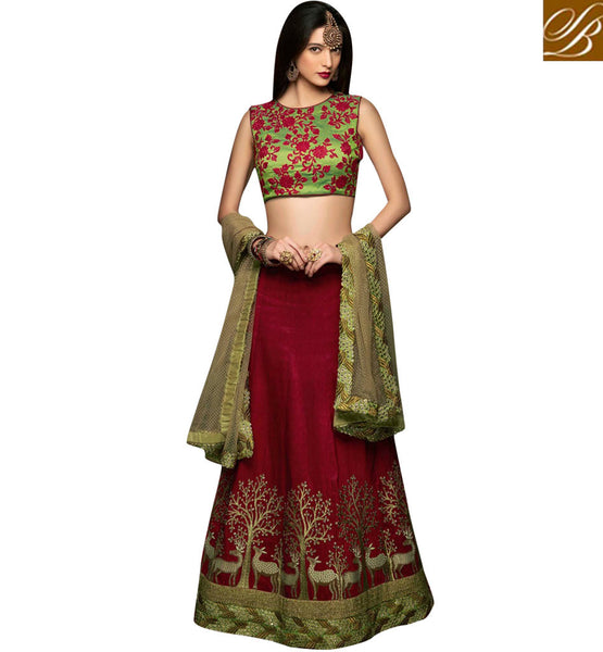 STYLISH BAZAAR BEAUTIFUL MAROON RAW SILK DESIGNER LEHENGA HAVING CAPTIVATING FLORAL EMBROIDERY ON CHOLI CHRT106